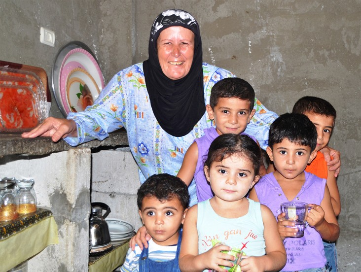 A family in Khan Younis, Gaza, where USAID built a wastewater network that eliminated disease-causing raw sewage.