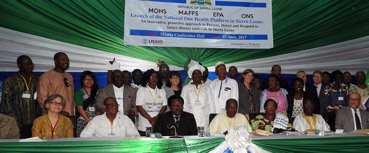 Government officials and partners at the launch of the National One Health platform in Freetown, Sierra Leone.