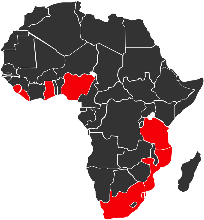 Map of Africa with Project Last Mile focus countries in red.