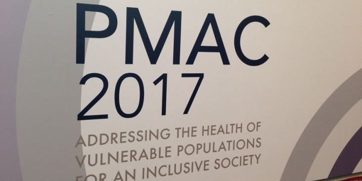 Sign saying PMAC 2017 Addressing the health of Vulnerable Populations for an Inclusive Society