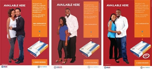 Point-of-sale (POS) country-specific posters from a CSI advertising campaign show couples to underscore how voluntary family planning is not just the woman's responsibility.