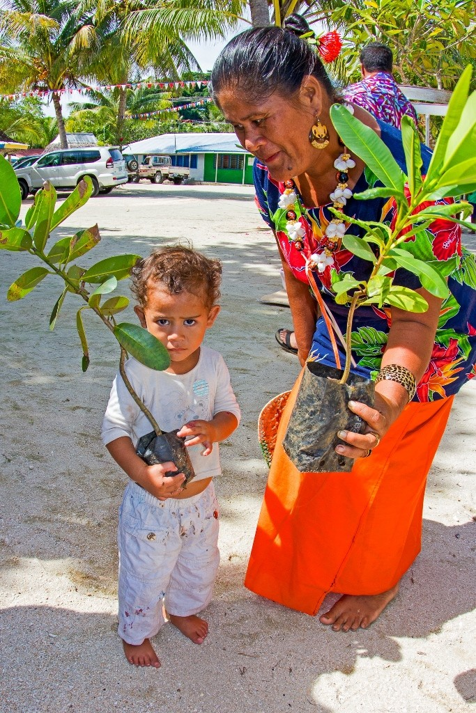 Manase residents helped to plant vegetation to form a natural barrier from the sea.