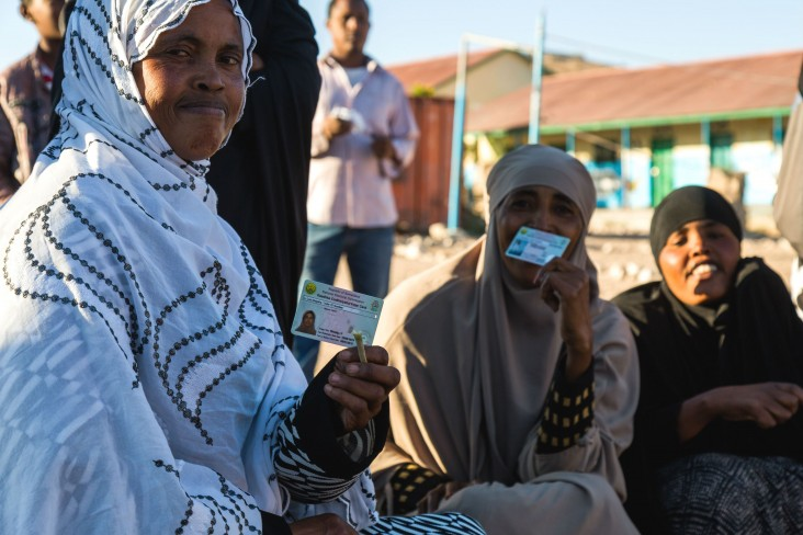 Women turn out early and in force with their new voter ID cards, ready to choose Somaliland's next president.