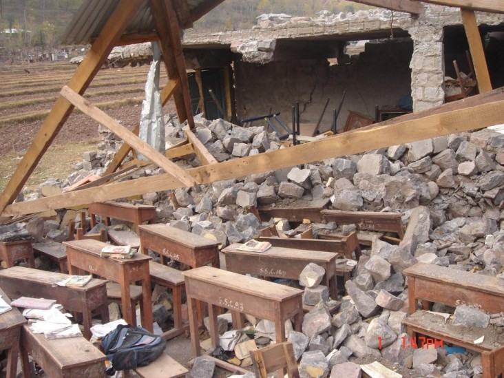 Rubble from a demolished classroom.