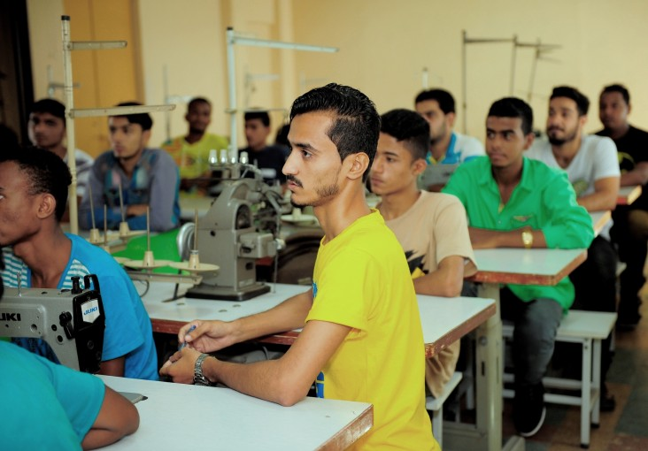 A group of fresh trainees at a vocational training center in Karachi that has partnered with the Youth Employment Project