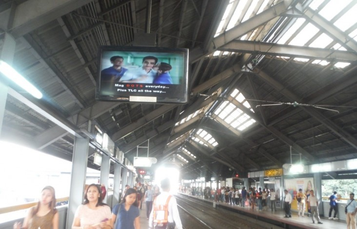 A TV ad urging early TB diagnosis played for one month in Metro Manila train terminals.