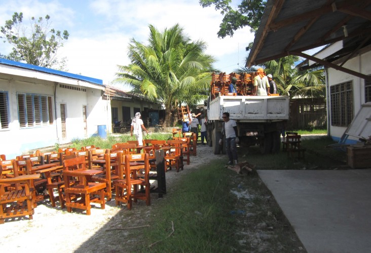 School chairs were produced out of confiscated logs in Agusan del Sur.