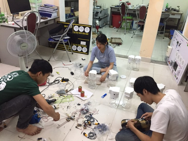 The team is building their dispensers.