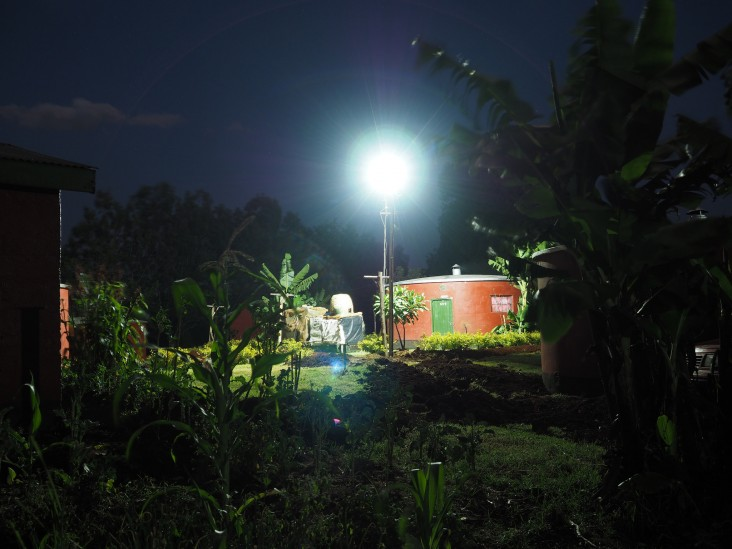 One of 12 security lights installed in a village in Kenya, powered by a PowerGen solar microgrid.