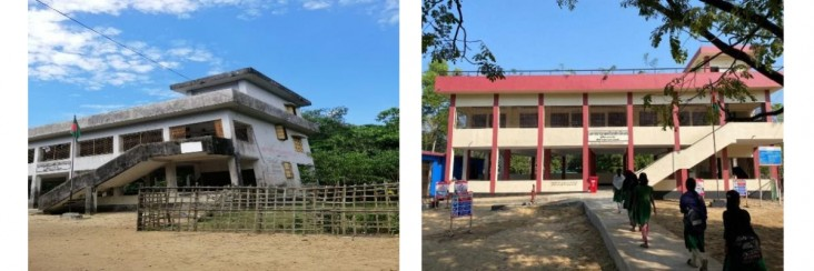 These photos represent the condition of the Khandaker multipurpose cyclone shelter before and after the USAID-funded rehabilitation.