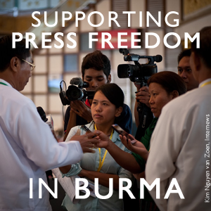 Supporting Press Freedom in Burma. Click to view Medium post. Photo: Kim Nguyen van Zoen, Internews