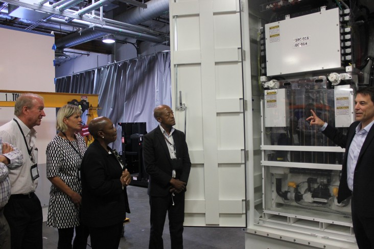 South African delegates learn about the Primus Power EnergyPod®,  a zinc-flow battery technology designed for megawatt-scale ene