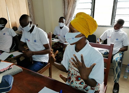 REWARD II electoral security grantees hold a 'Youth Pools for Peace' training in Bonou, Benin.