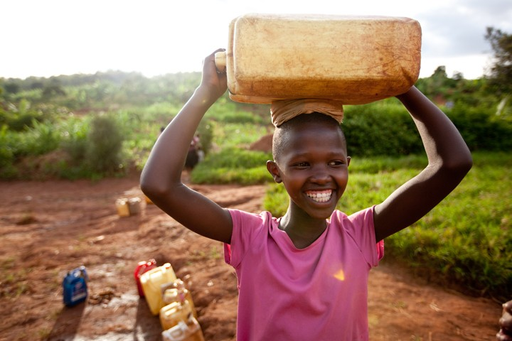 Young girl from the Rulindo District in Rwanda fetching water.