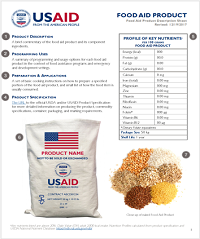 Sample Food Aid Product Description Sheet