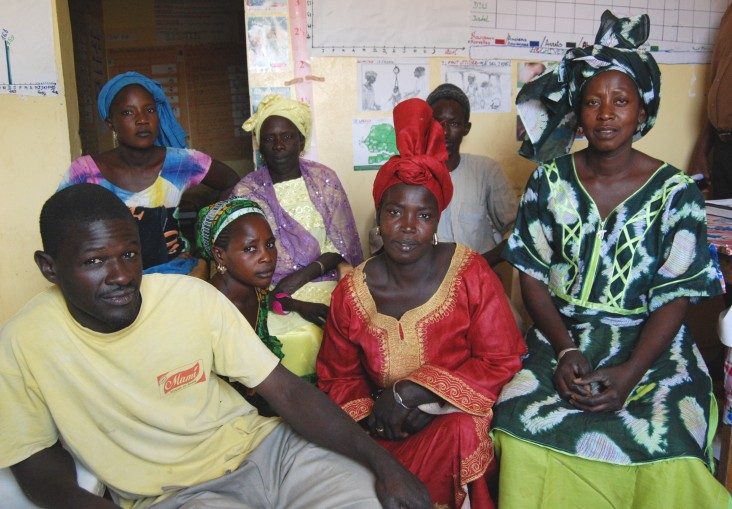 Birth attendant Fatou Diouf, right, and community health volunteers working in Koulouck Mbada