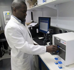 A USAID-supported lab in Zambia uses new technology to improve TB diagnosis.