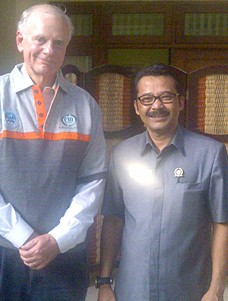 USAID Global Water Coordinator Chris Holmes with Mr. Zainul Arfin, president and director of the City of Batu Water Utility