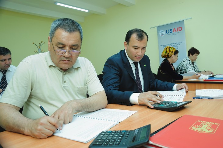 Men participate in a business seminar conducted by the USAID Macroeconomic Project in Turkmenistan