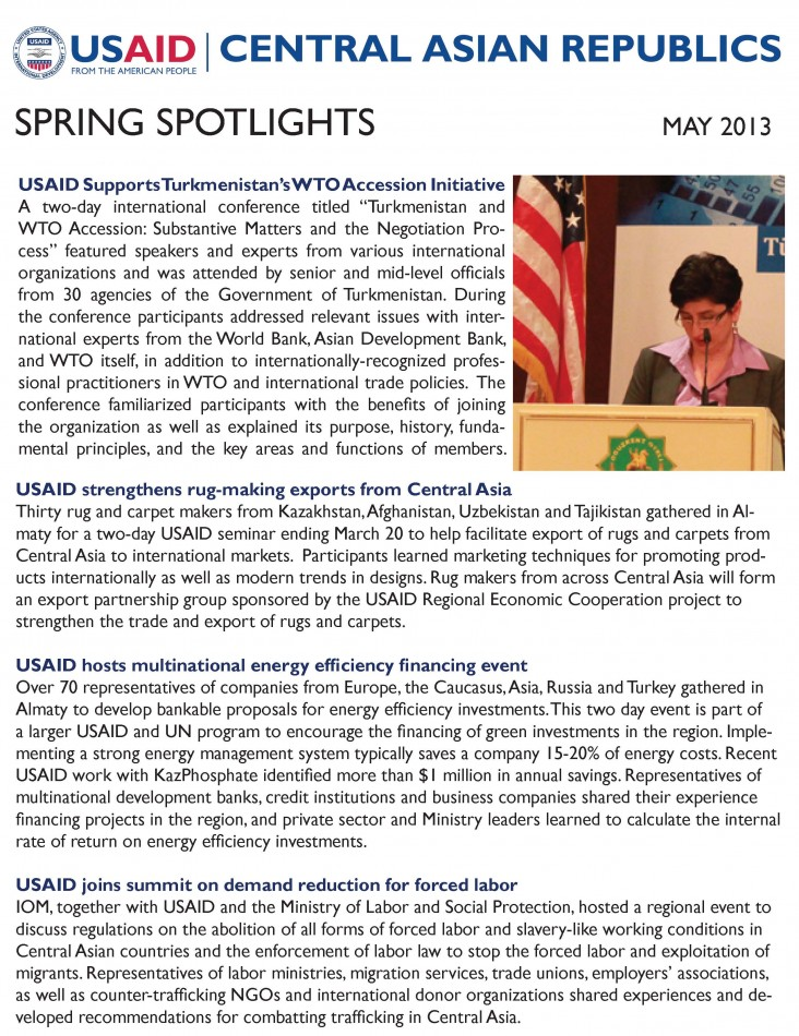 Cover of the USAID/Central Asian Republics Spring 2013 Newsletter - Click to download PDF.