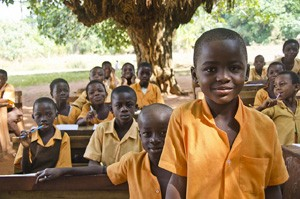 Ghana school under the trees: School under the trees in the Northern Region Ghana