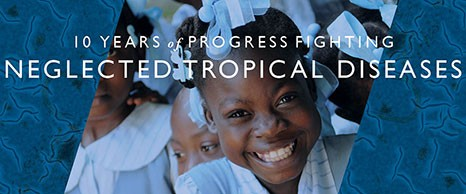 Photo of a young girl smiling up at the camera with words 10 Years of Progress Fighting Neglected Tropical Diseases