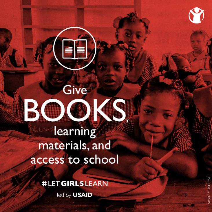 Give books, learning materials, and access to school