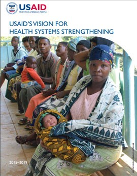 The cover of USAID's Vision for Health Systems Strengthening showing people waiting at a medical facility.
