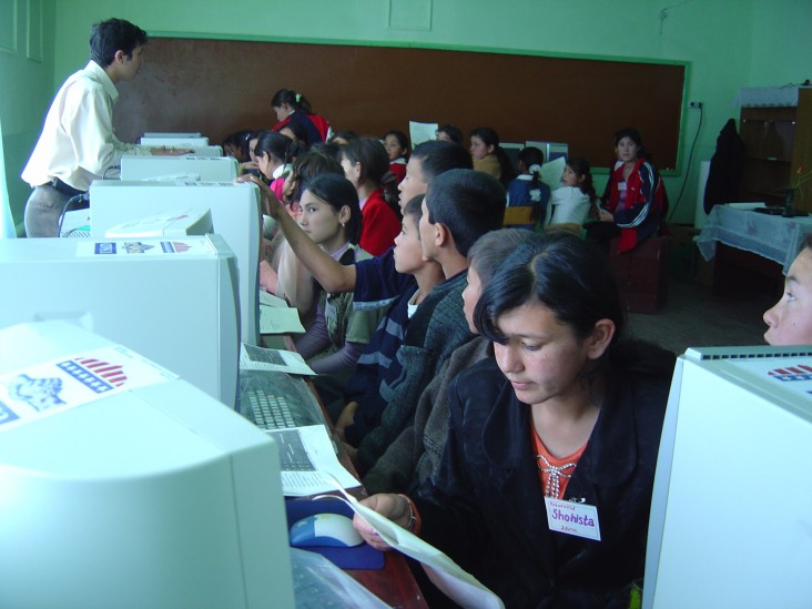 Youth participate in a computer class