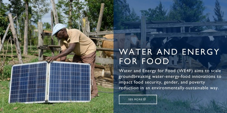 Water and Energy for Food (WE4F) aims to scale groundbreaking water-energy-food innovations to impact food security, gender, and poverty reduction in an environmentally-sustainable way.