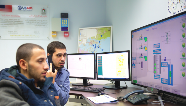 Checking and analyzing data from the well sites inside the control room in Ramallah