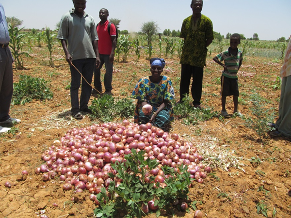 Women displays her onion crop