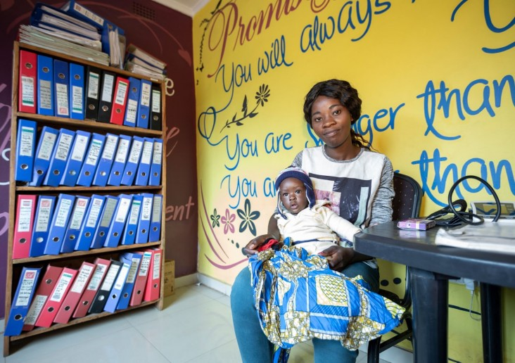 Mother and child during a family planning visit, at a DREAMS/Zambia Community HIV Prevention Project (Z-CHPP) center in Lusaka.