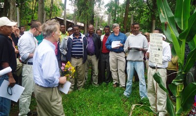 USAID/Ethiopia Mission Director Dennis Weller (holding flowers) visits the Ginchi maize demonstration site.