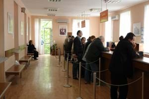 Georgian business owners at a tax registry