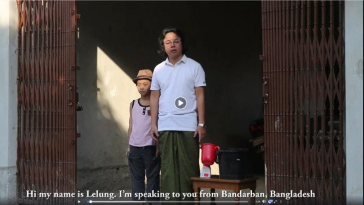 Lelung Khumi, who, with his son, volunteered to demonstrate hand washing in Khumi language