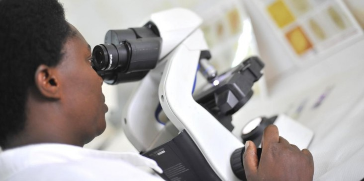 Photograph of a researcher looking through a microscope. Photo credit: Riccardo Gangale for USAID/Courtesy of Photoshare