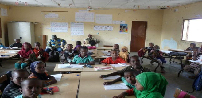 School children during reading analysis conducted at primary schools in Djibouti. USAID