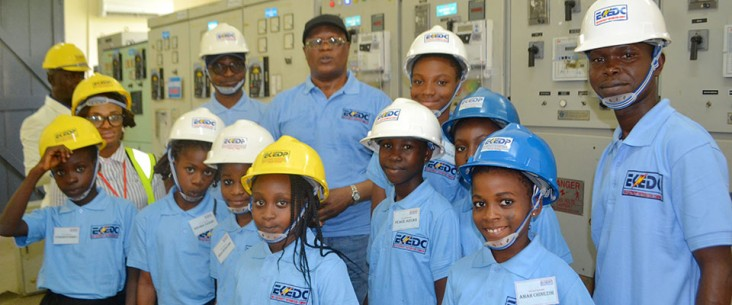 Girls attend EKEDP's first ever Bring Your Daughter to Work Day, supported by USAID's Engendering Utilities program.
