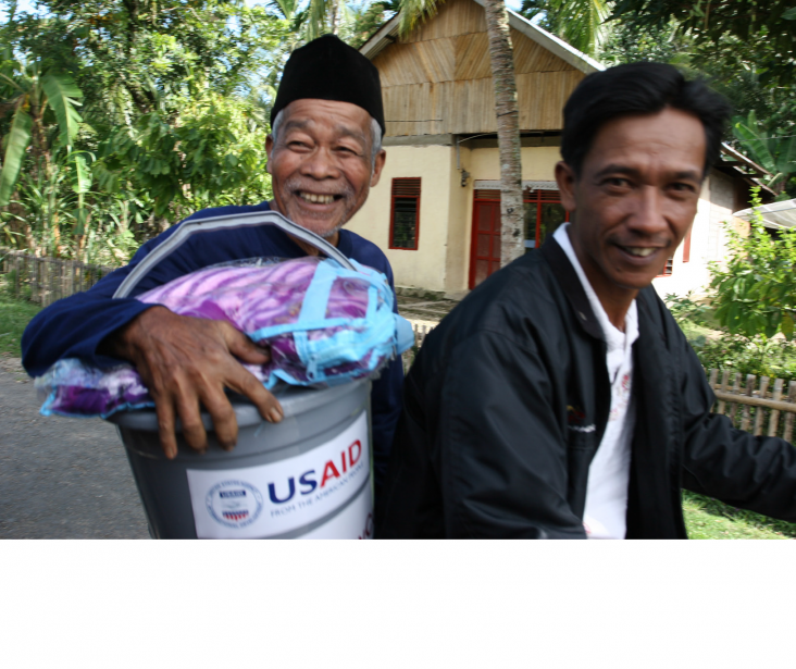 Photo of two Indonesian men with relief kits.