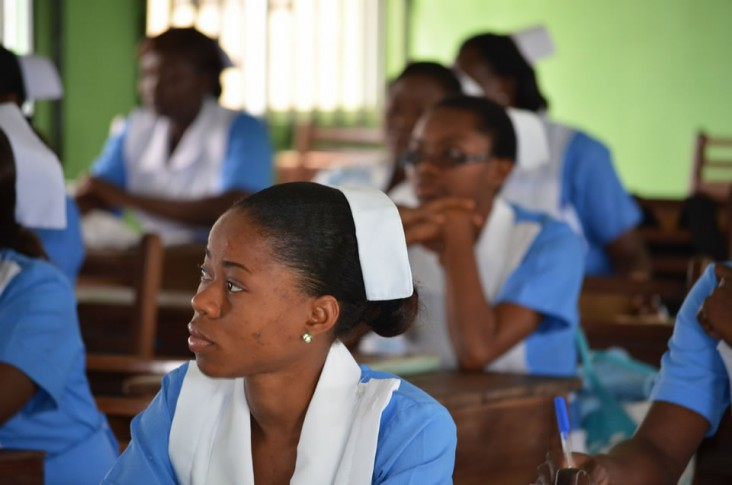 Midwifery students listen to a lecture at the School of Midwifery, Asaba, Delta State, Nigeria.
