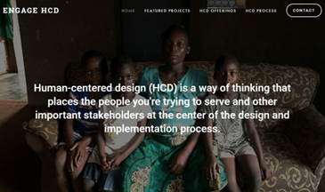 ENGAGE HCD screen grab.  HCD is a way of thinking that places the people you are trying to serve at the center of the design.
