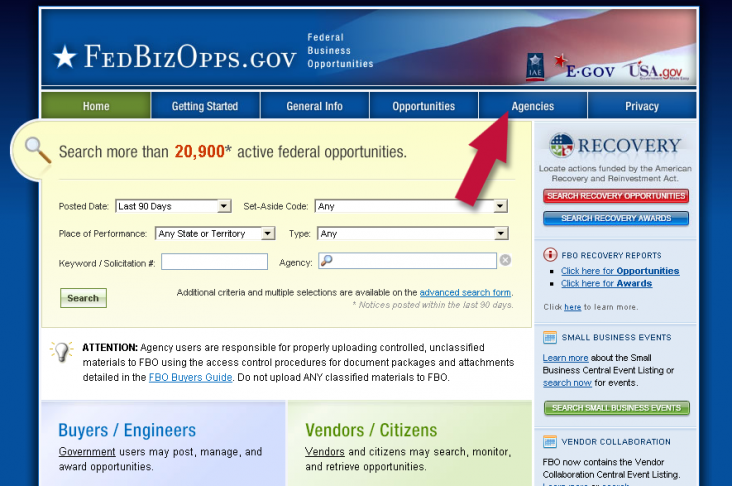 1. Go to fbo.gov and click the Agencies tab