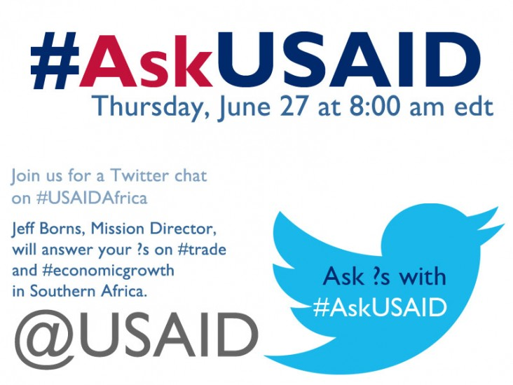 Join us for a Twitter Chat on #USAIDAfrica. Jeff Borns, Mission Director, will answer your ?s on trade and economic growth