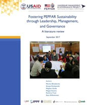 Cover for Fostering PEPFAR Sustainability through Leadership, Management, and Governance: A literature review