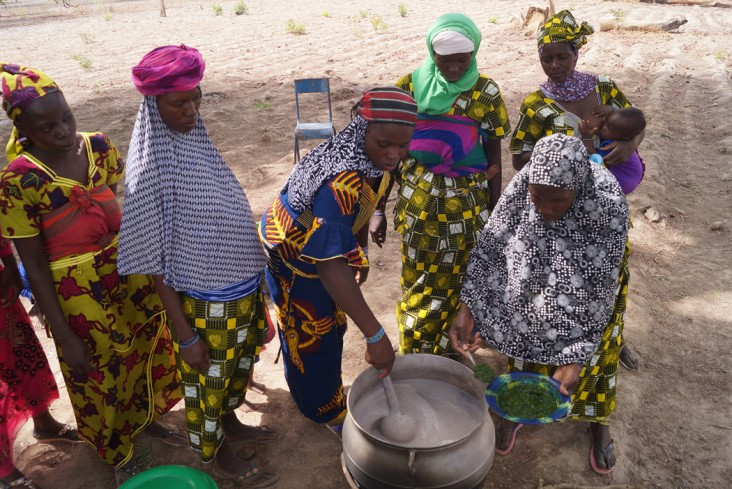 Cooking demonstration in N'Goloclola. Photo credit: FTF Mali Horticulture Scaling Project