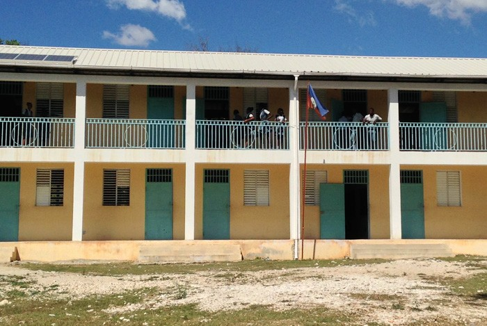 This Haitian public high school has an enrollment of 800 with only two latrines.