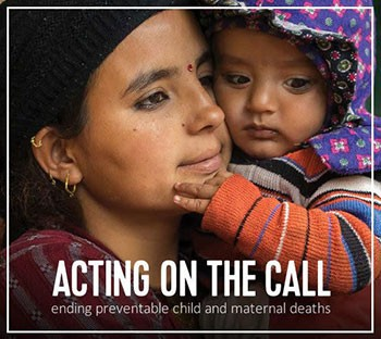 Photo of a mother and child. Acting on the Call.