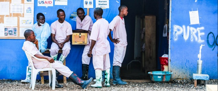 BONG, Liberia January 29, 2015 Aid workers rest at the Bong County Ebola Treatment Unit. Although the number of cases of Ebola i