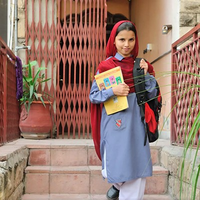 A young student at Saba Homes in Rawalpindi,  Pakistan. Saba Homes is a haven for over 40 young orphaned or homeless girls to live and receive an education.